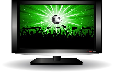 Silhouette of a football crowd on an LCD television photo