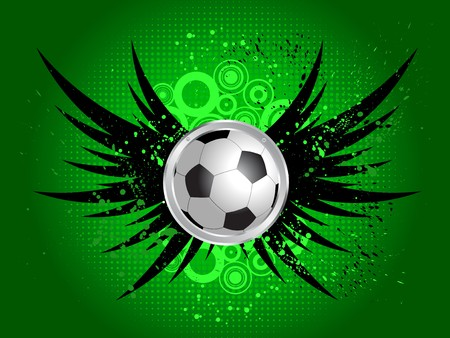 spat: Football on a grunge style background with wings