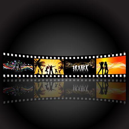 Illustrations of people dancing on a film strip background illustration