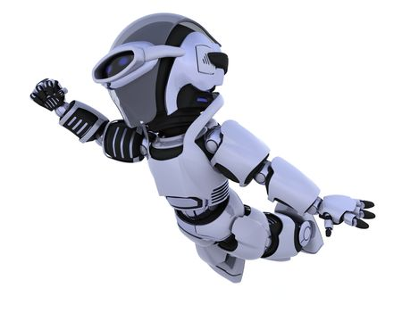 flying man: 3D render of a robot flying through the sky