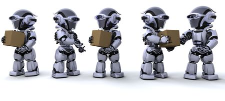 3D render of a robots moving shipping boxes photo