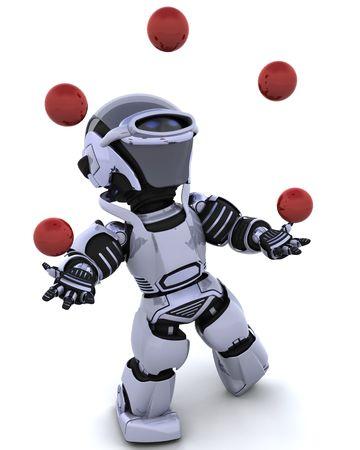 3D render of a robot juggling balls photo