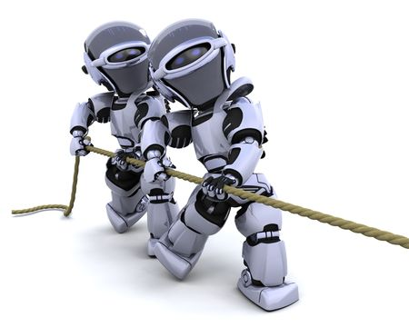 robot war: 3D Render of robots pulling on a rope