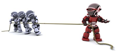 3D Render of robots pulling on a rope photo