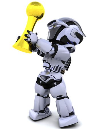 3D Render of robot with soccer trophy photo