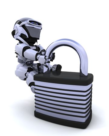 3D Render of a robot with padlock Stock Photo - 7150371