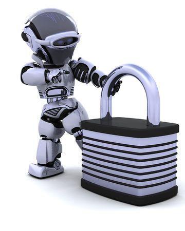 lock  futuristic: 3D rendering di un robot con lucchetto  Archivio Fotografico