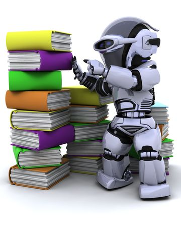 3D Render of robot with books photo