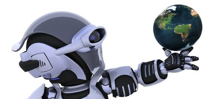 3D render of a robot inspecting a globe Stock Photo - 7150381
