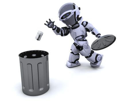 discarded metal: 3D render of a robot with trash