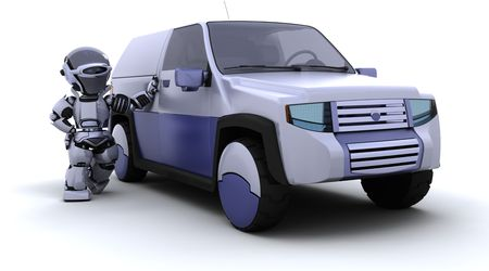 3D render of robot with SUV concept car Stock Photo - 7150379