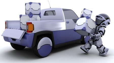 3D render of robot loading boxes into the back of a truck Stock Photo - 7150385