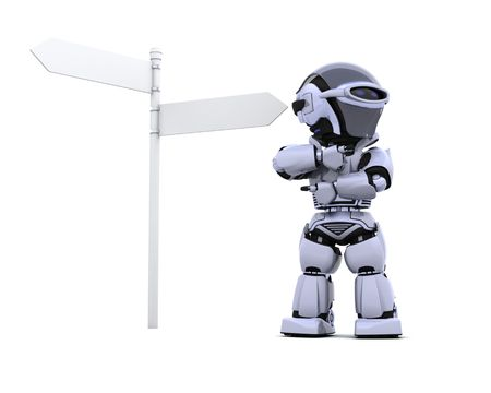 3D render of a robot at a signpost photo
