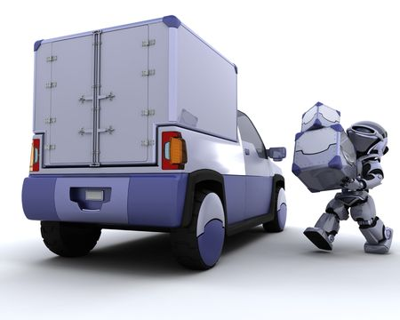 3D render of robot loading boxes into the back of a truck photo
