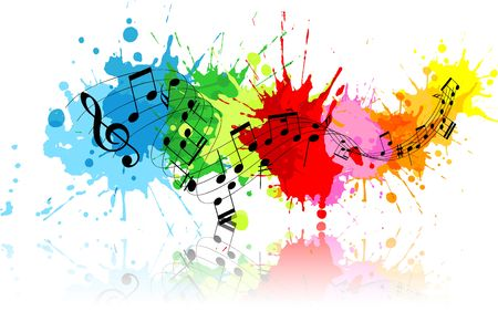 Abstract grunge music background with colourful paint splats photo