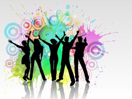 chicas bailando: Siluetas de personas bailando sobre fondo de grunge  Foto de archivo