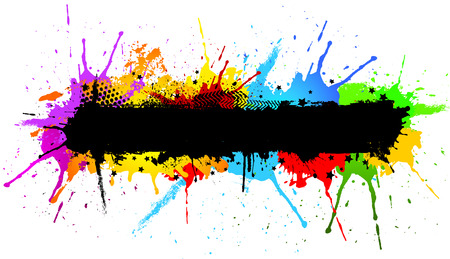 Abstract grunge background with colourful paint splats