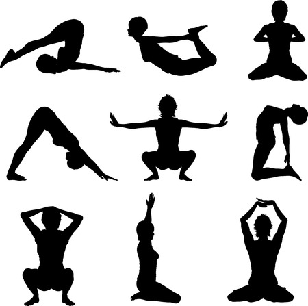 pilates: Silhouettes of females in various yoga poses