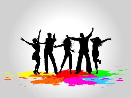 siluetas de mujeres: Siluetas de personas bailando sobre un fondo de grunge