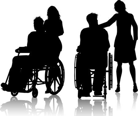 paraplegico: Silueta de los hombres en sillas de ruedas con una mujer
