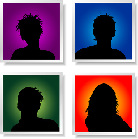 adolescent: People avatars on brightly coloured backgrounds