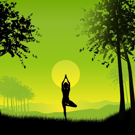 Silhouette of a female in a yoga pose under a sunset sky photo