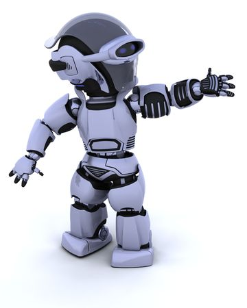 3D render of a robot introducing or presenting Stock Photo - 7330847