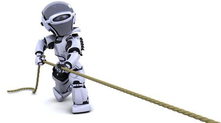 3D Render of robot pulling on a rope photo