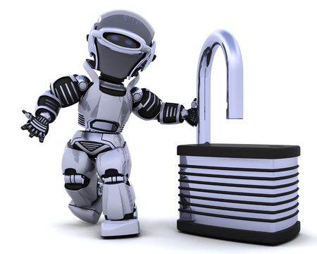 3D Render of a robot with padlock Stock Photo - 7330849