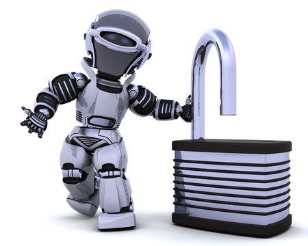 3D Render of a robot with padlock Stock Photo - 7330849