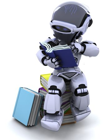chrome man: 3D Render of robot with books Stock Photo