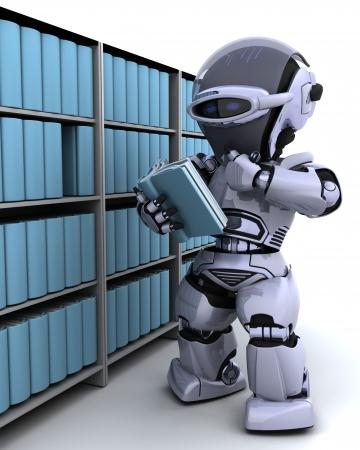 electronic book: 3D Render of robot at bookshelf Stock Photo