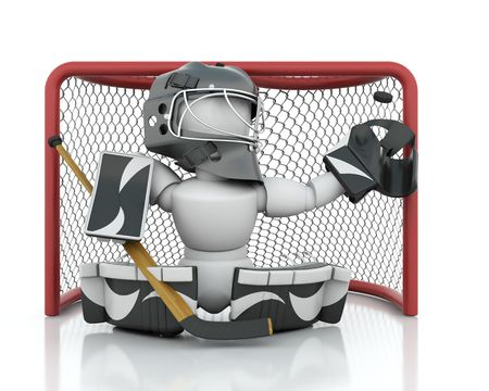 3D render of an ice hockey netminder photo