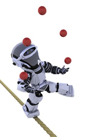 electronic balance: 3D render of a robot juggling balls on tight rope