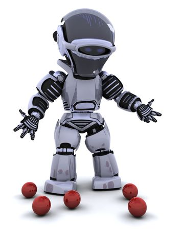 dropped: 3D render of a robot juggler and dropped balls Stock Photo