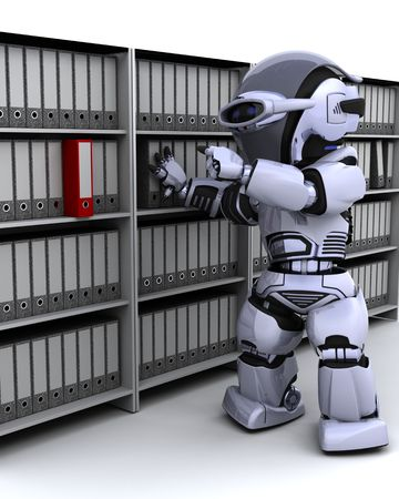 cute robot: 3D Render of robot filing documents