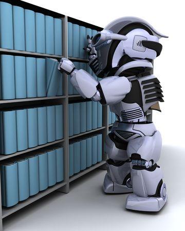 bookcase: 3D Render of robot at bookshelf Stock Photo
