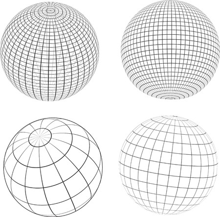 Various designs of wireframe globes photo