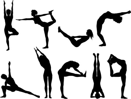 Silhouettes of females in various yoga poses Stock Photo - 7426073