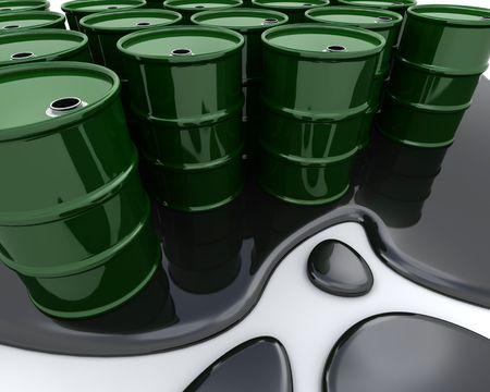 3D render van olie vaten zat in gemorste olie