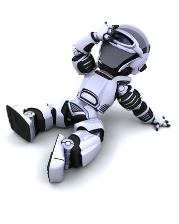 render: 3D render of a robot resting in the sun