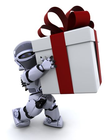 3D render of a robot carrying christmas gift box with bow photo