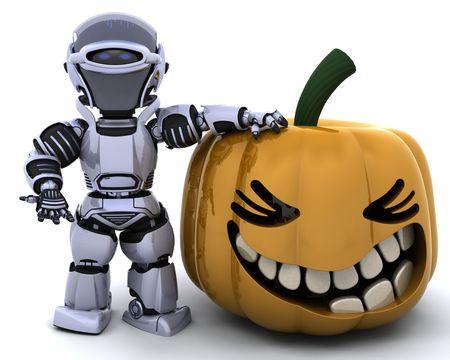 3D render of a robot with jack o lantern pumpkin photo