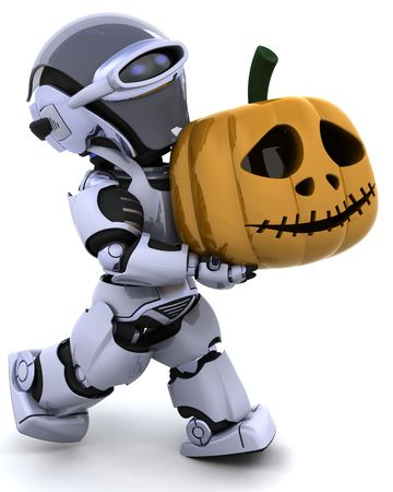 3D render of a robot with jack o lantern pumpkin Stock Photo - 7490244
