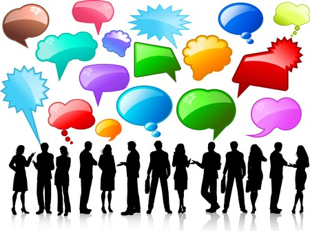 woman speaking: Silhouettes of business people in conversation with glossy speech bubbles