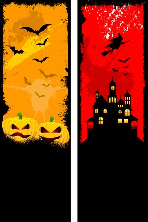 Two designs of grunge style Halloween backgrounds photo