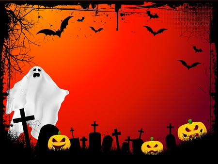 Grunge Halloween background with evil pumpkins and scary ghost Stock Photo - 7523343