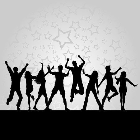 Silhouettes of people dancing on a starry background photo