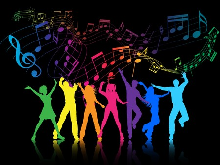 dance party: A colourful party background with people dancing Stock Photo