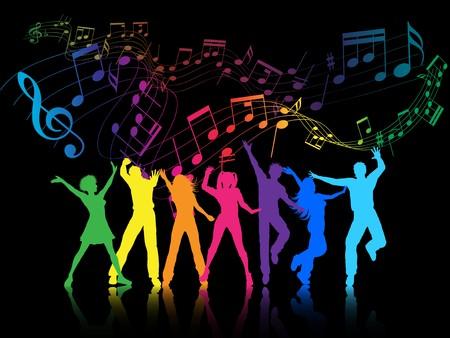 ragazze che ballano: Uno sfondo colorato partito con persone di ballo